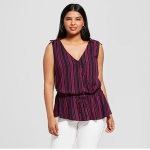Striped V Neck top, multi colored
